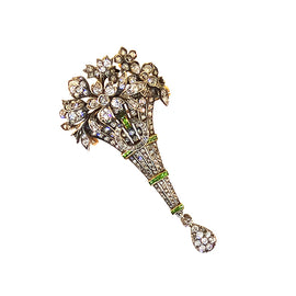 Antique Diamond & Garnet Bouquet Brooch