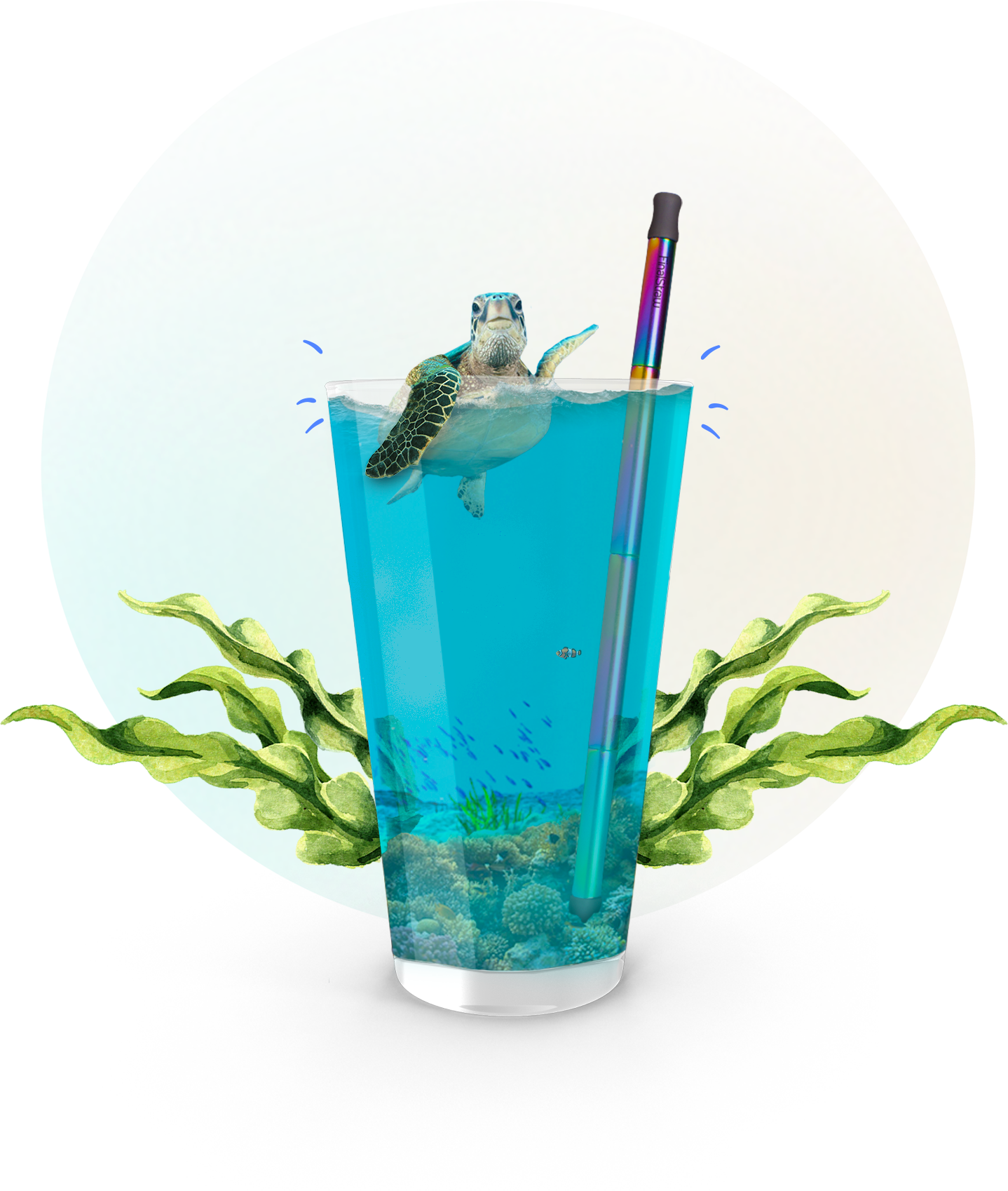 straw in drink with turtle