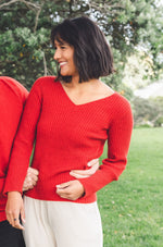 Pink Red Merino Possum V neck sweater