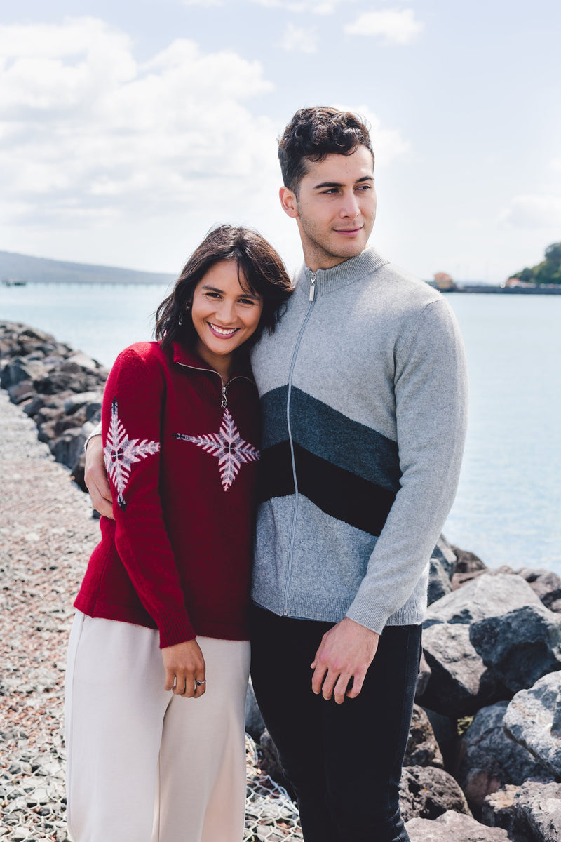 Red silver fern possum merino sweater - kapeka nz