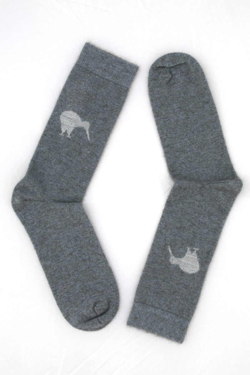 Grey Possum Merino Kiwi Socks NZ - Kapeka
