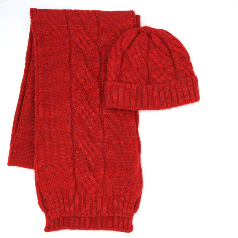 Red Alpaca Possum scarf and beanie set- Kapeka NZ