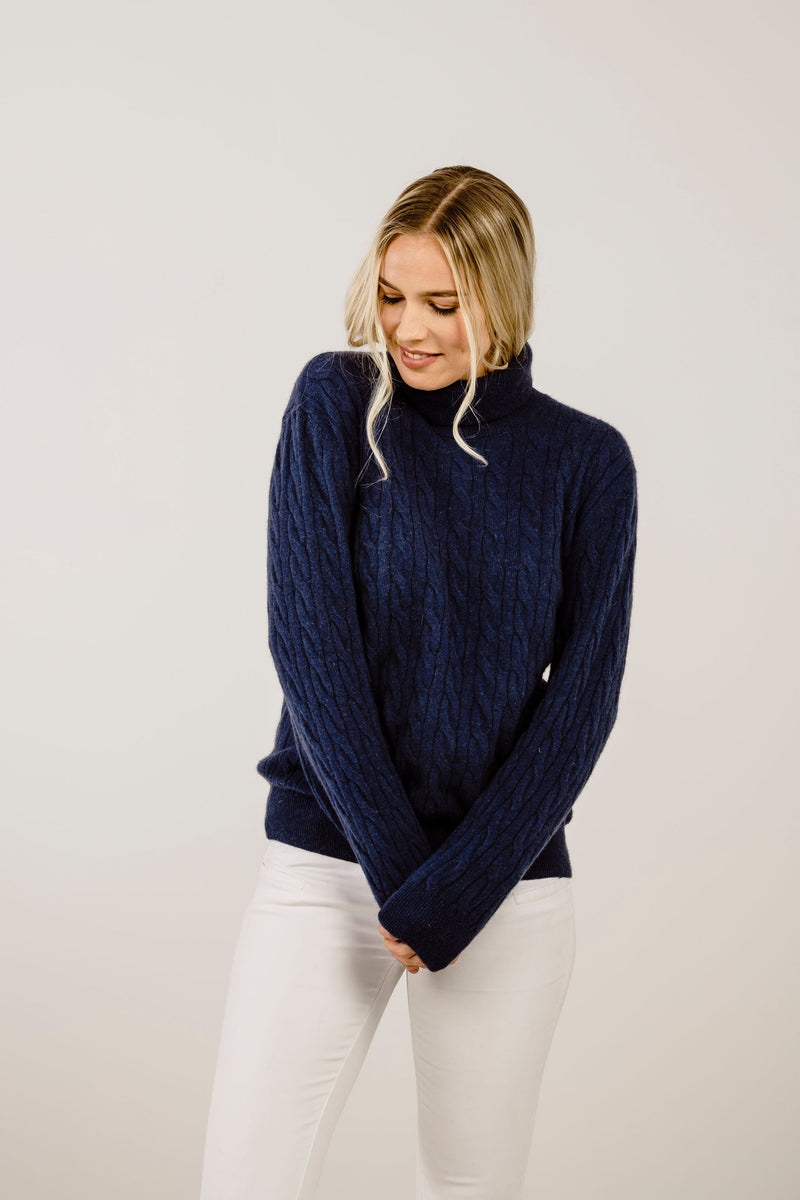 Cashmere Turtle Cable Sweater - Kapeka NZ