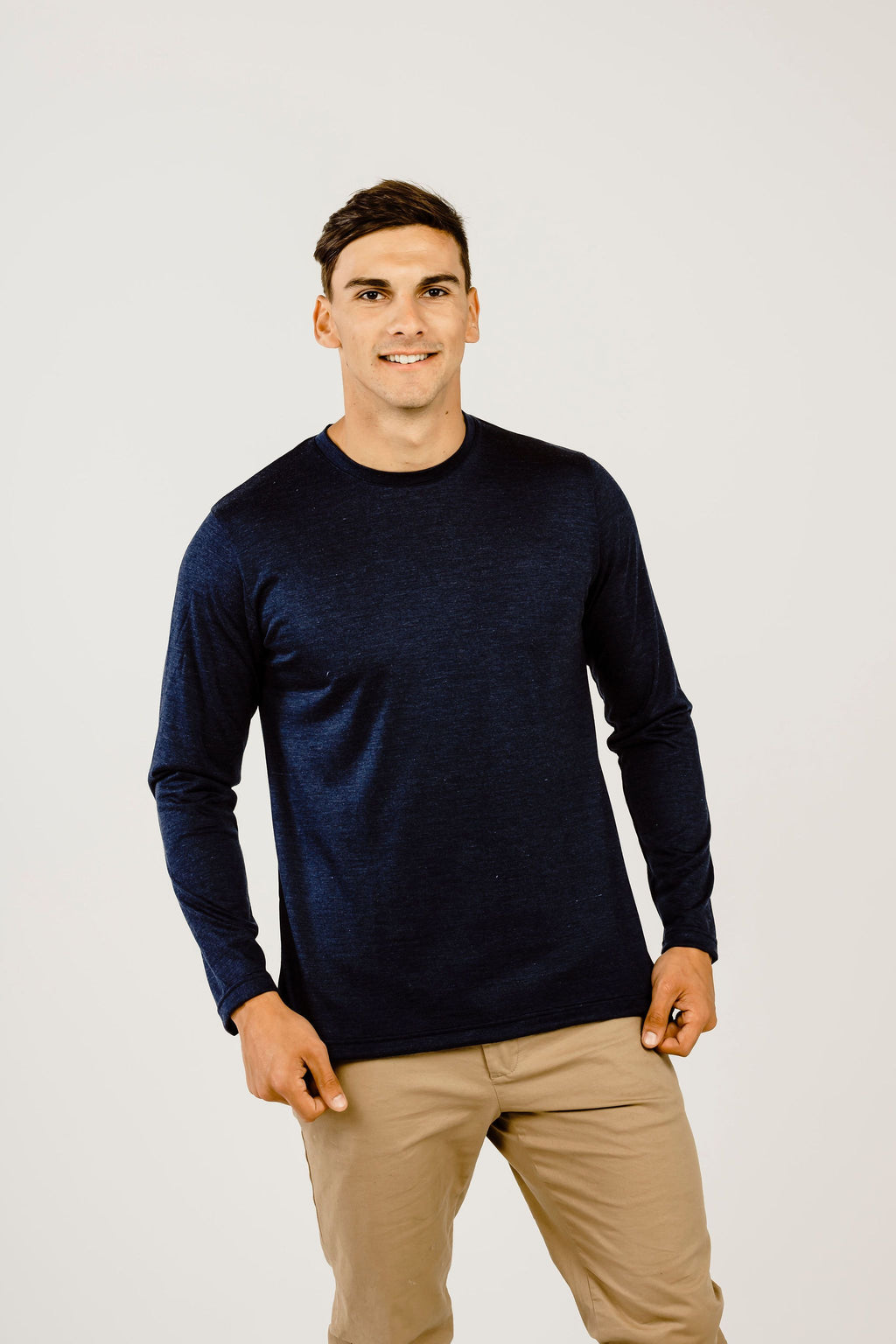 Merino & Silk Long Sleeve Crew Neck T-Shirt - Kapeka NZ
