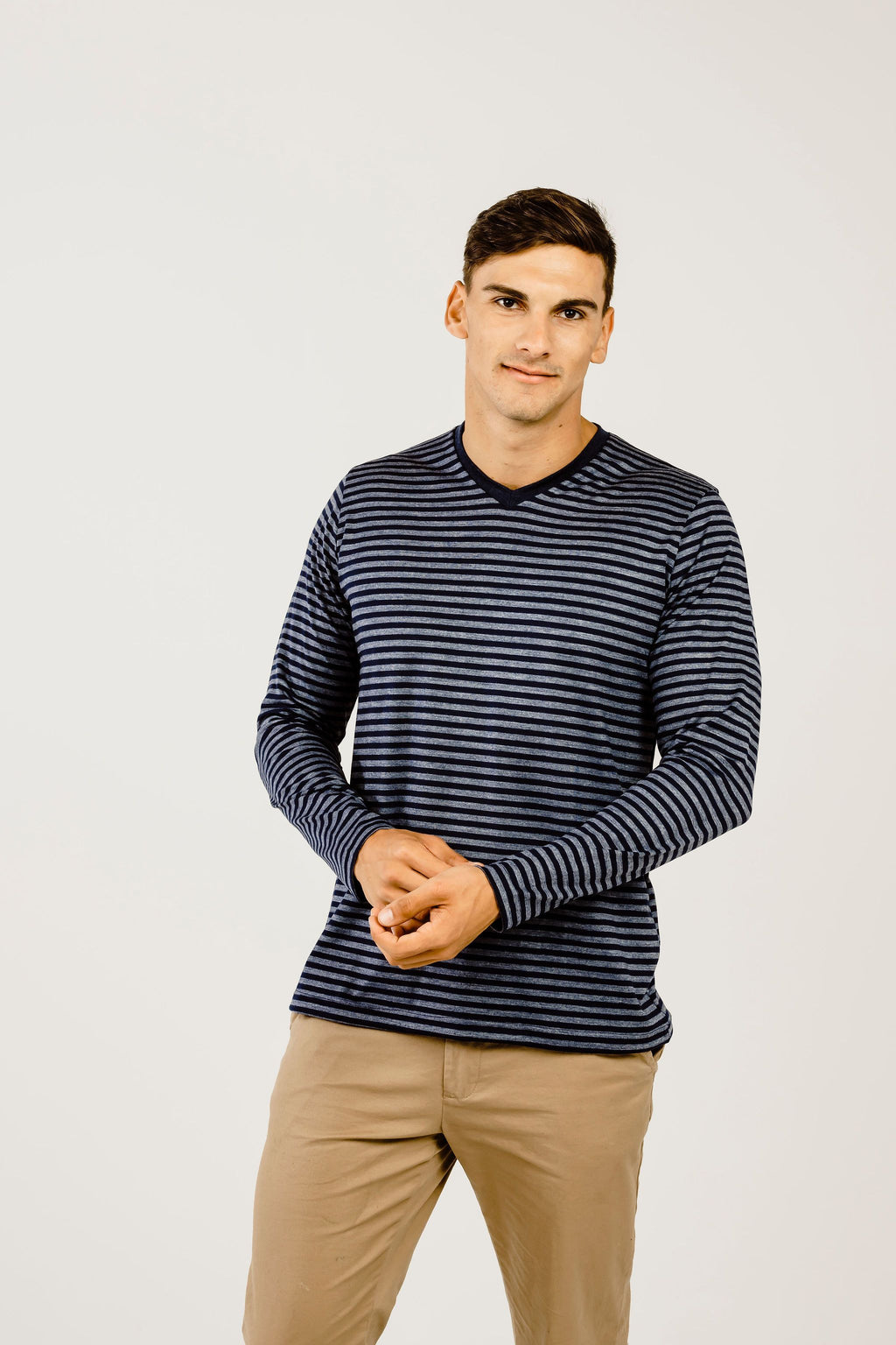 Striped Merino V Neck Long Sleeve T-Shirt - Kapeka NZ