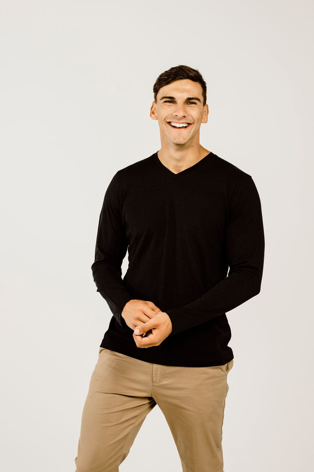Merino & Silk Long Sleeve V Neck - Kapeka