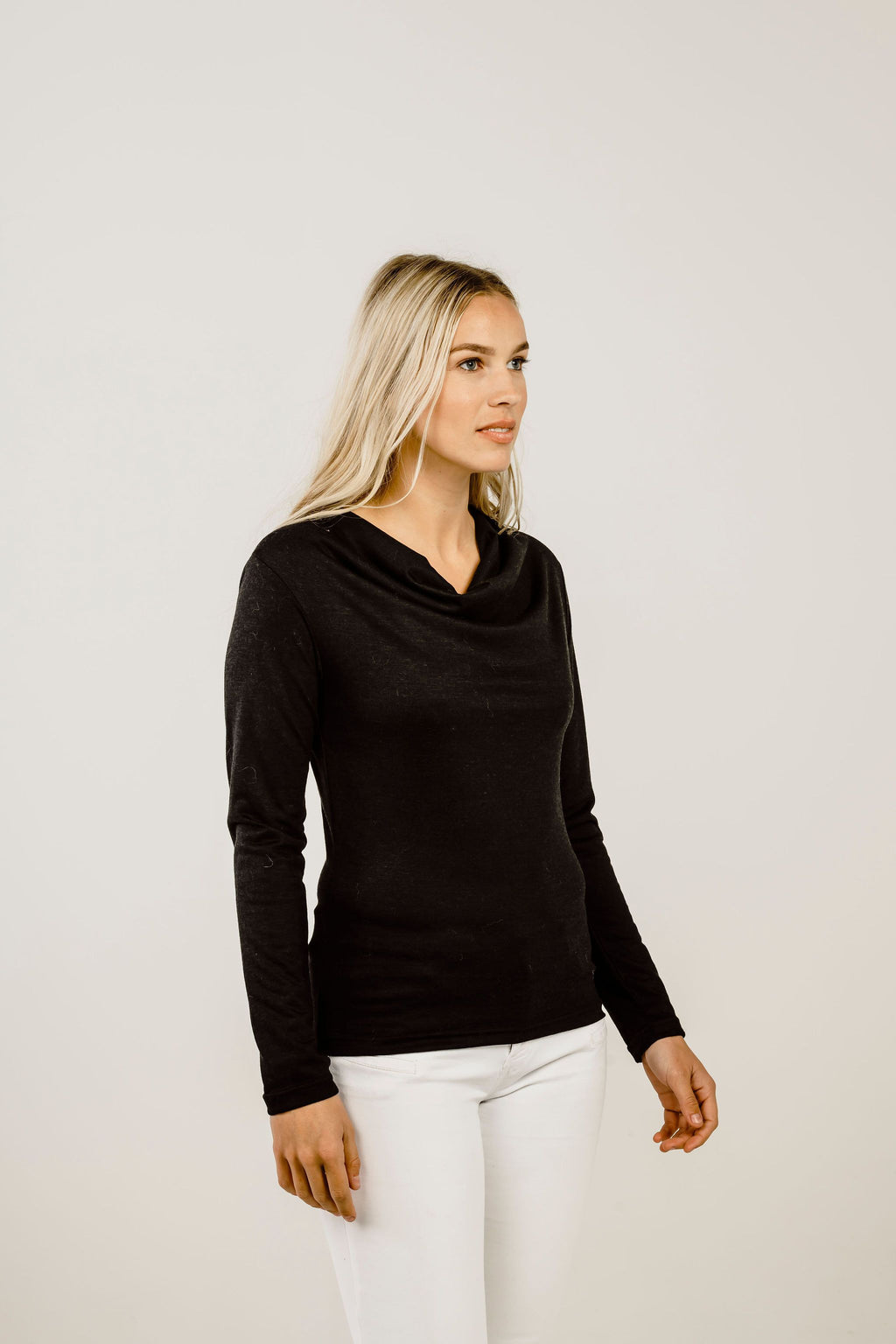 Merino & Silk Cowl Neck Shirt - Kapeka NZ