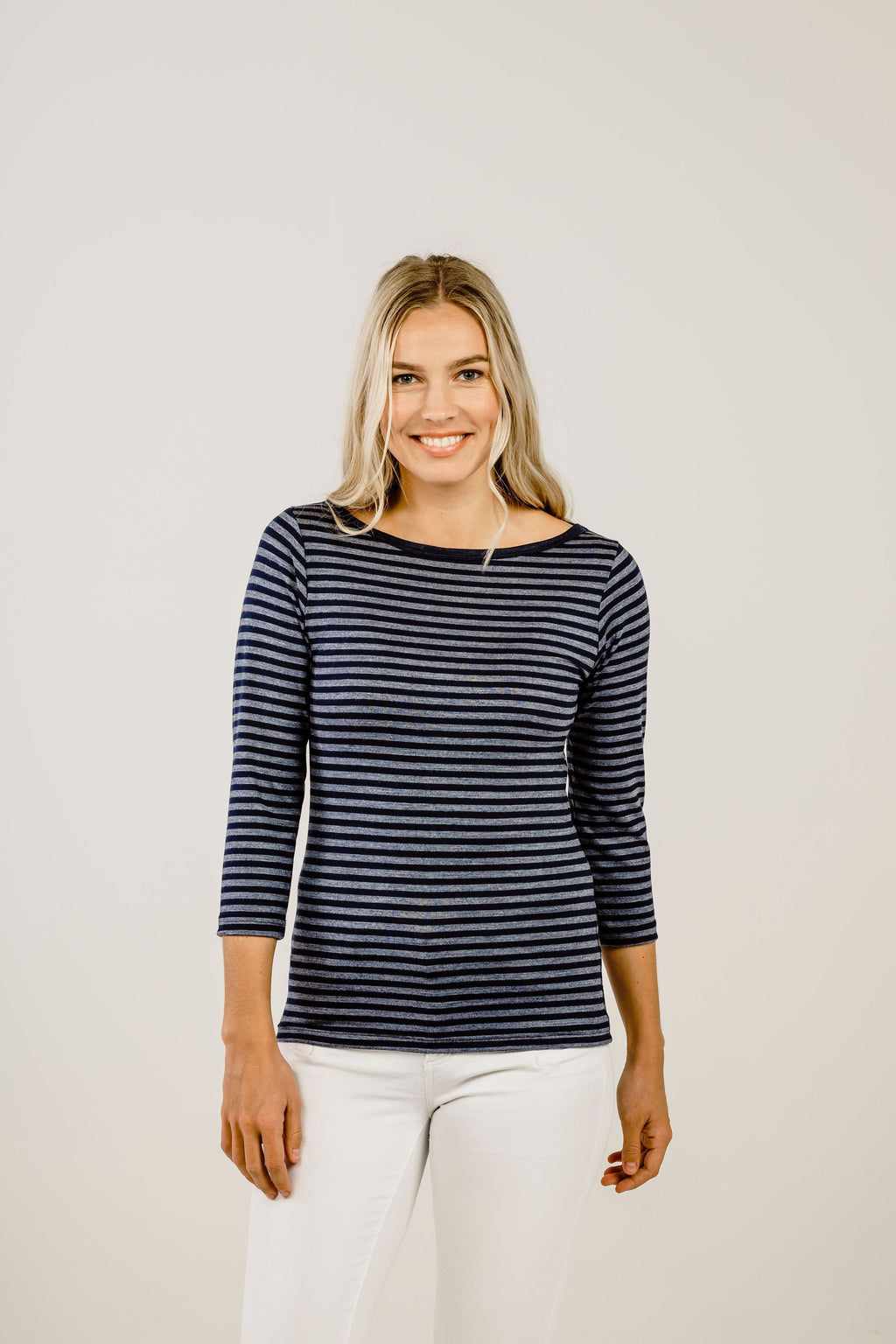 Striped Merino Boat Neck Shirt - Kapeka NZ
