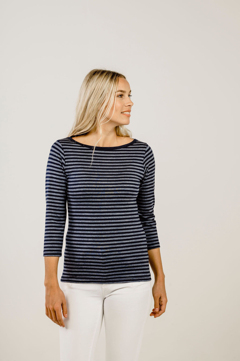 Merino Stripe Boat Neck