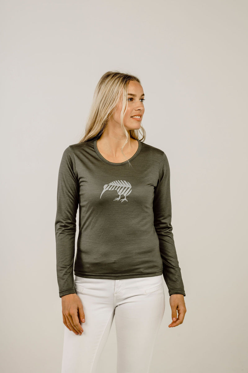 Merino Kiwi Long Sleeve Ladies T-Shirt - Kapeka NZ