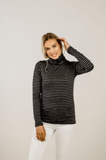 Striped Merino Turtle Neck Top - Kapeka NZ