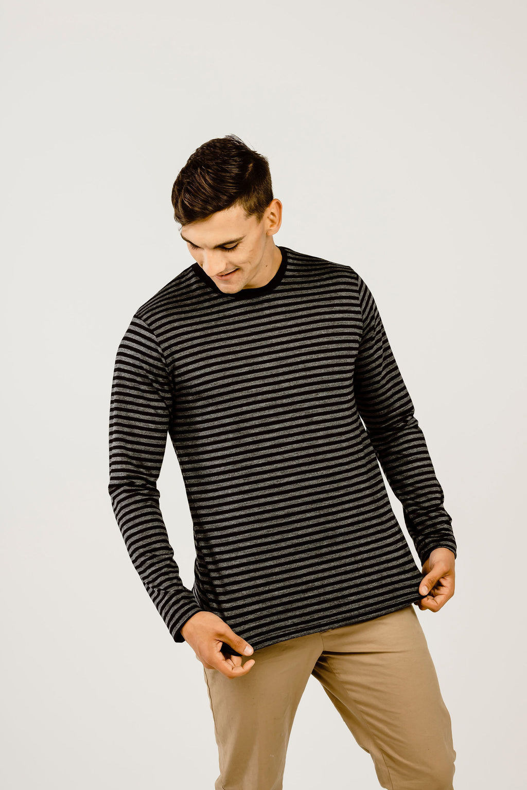 Striped Merino Long Sleeve Crew Neck T-Shirt - Kapeka NZ