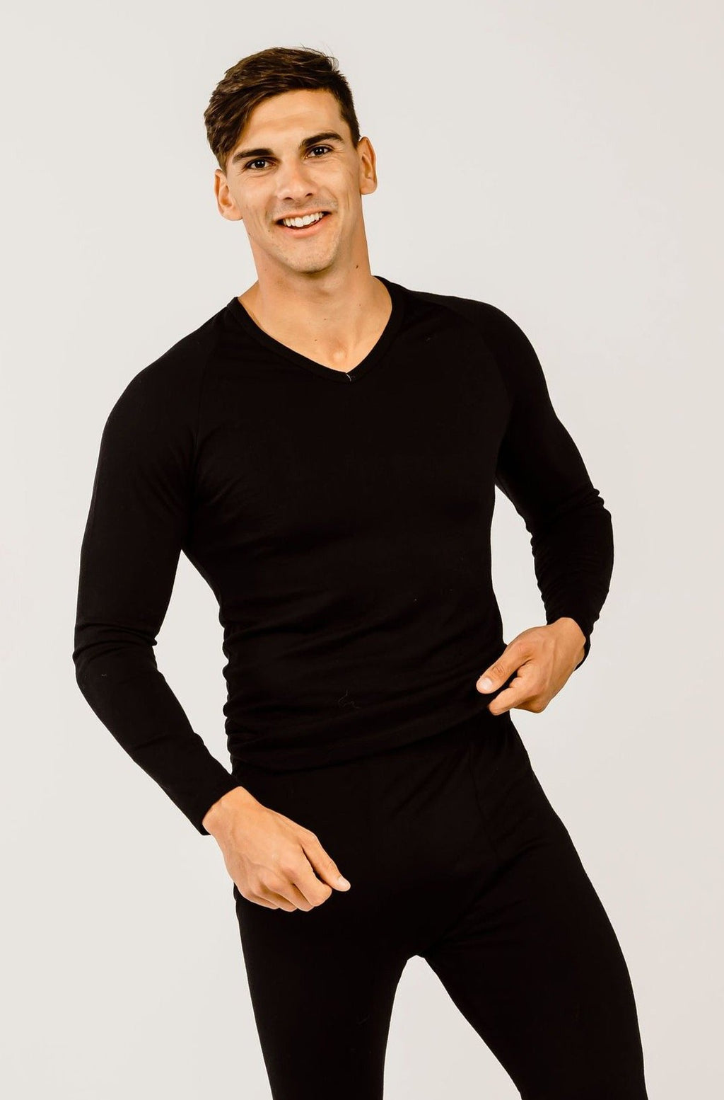 Mens Merino Long-Sleeved V-Neck Thermal Shirt - Kapeka NZ