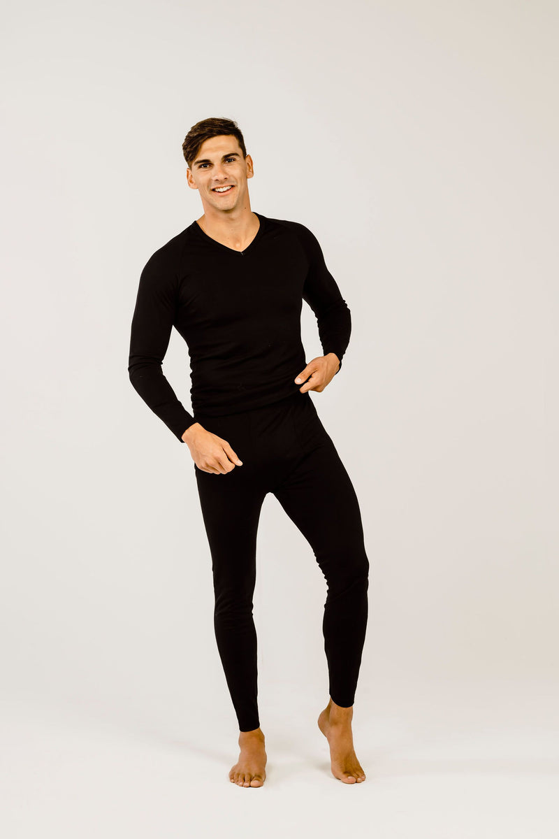 Mens Merino Wool Long-Sleeved V-Neck