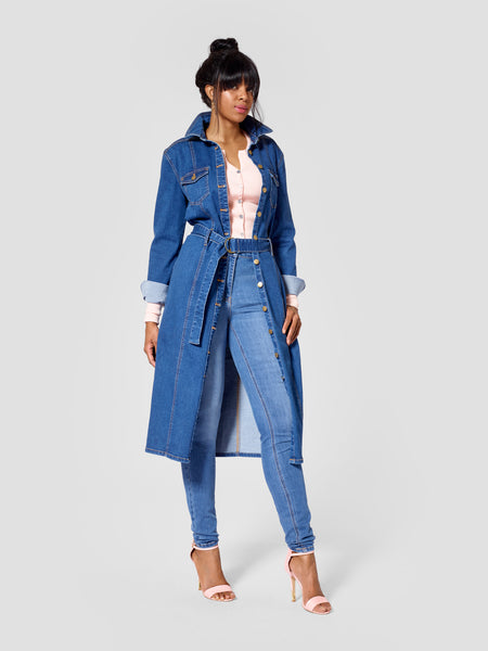 Tall denim dress for tall women featured as a tall jacket for tall women