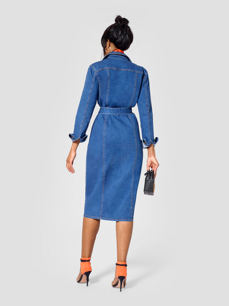 Back view of tall denim dress for tall women