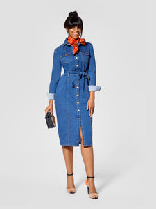 Front view of tall denim dress for tall women