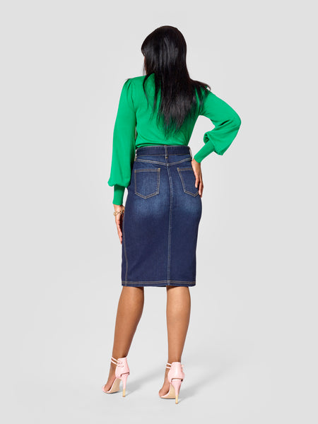 TallMoi denim tall skirt work by tall tall features tall skirts for women in the back view.