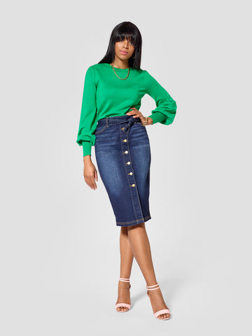 TallMoi denim tall skirt work by tall tall features tall skirts for women in the front view.
