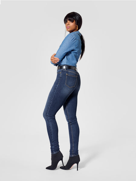 Back view of dark blue tall skinny jeans for tall women