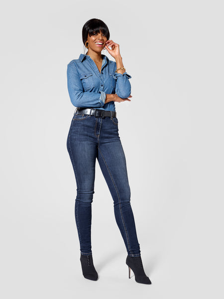 Front view of dark blue tall skinny jeans for tall women