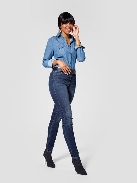 Side view of dark blue tall skinny jeans for tall women