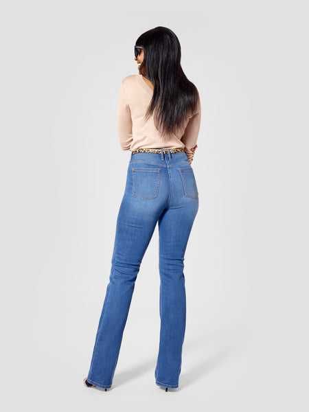 Back view of blue tall bootcut jeans