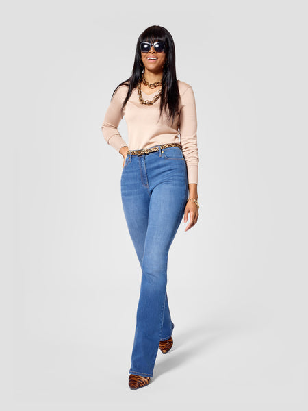 Front view of blue  tall bootcut jeans