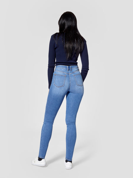 Back view of light blue tall skinny jeans