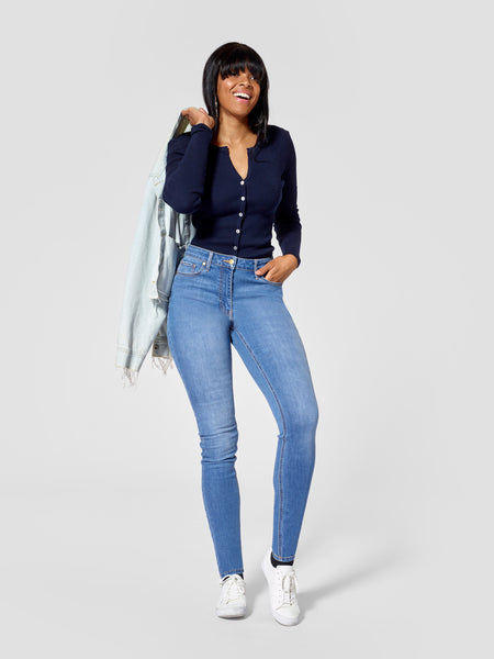 Front view of light blue tall skinny jeans