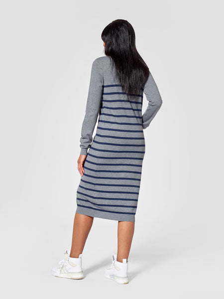 Roundneck Tall Striped Sweater Dress Back View Tall Moi