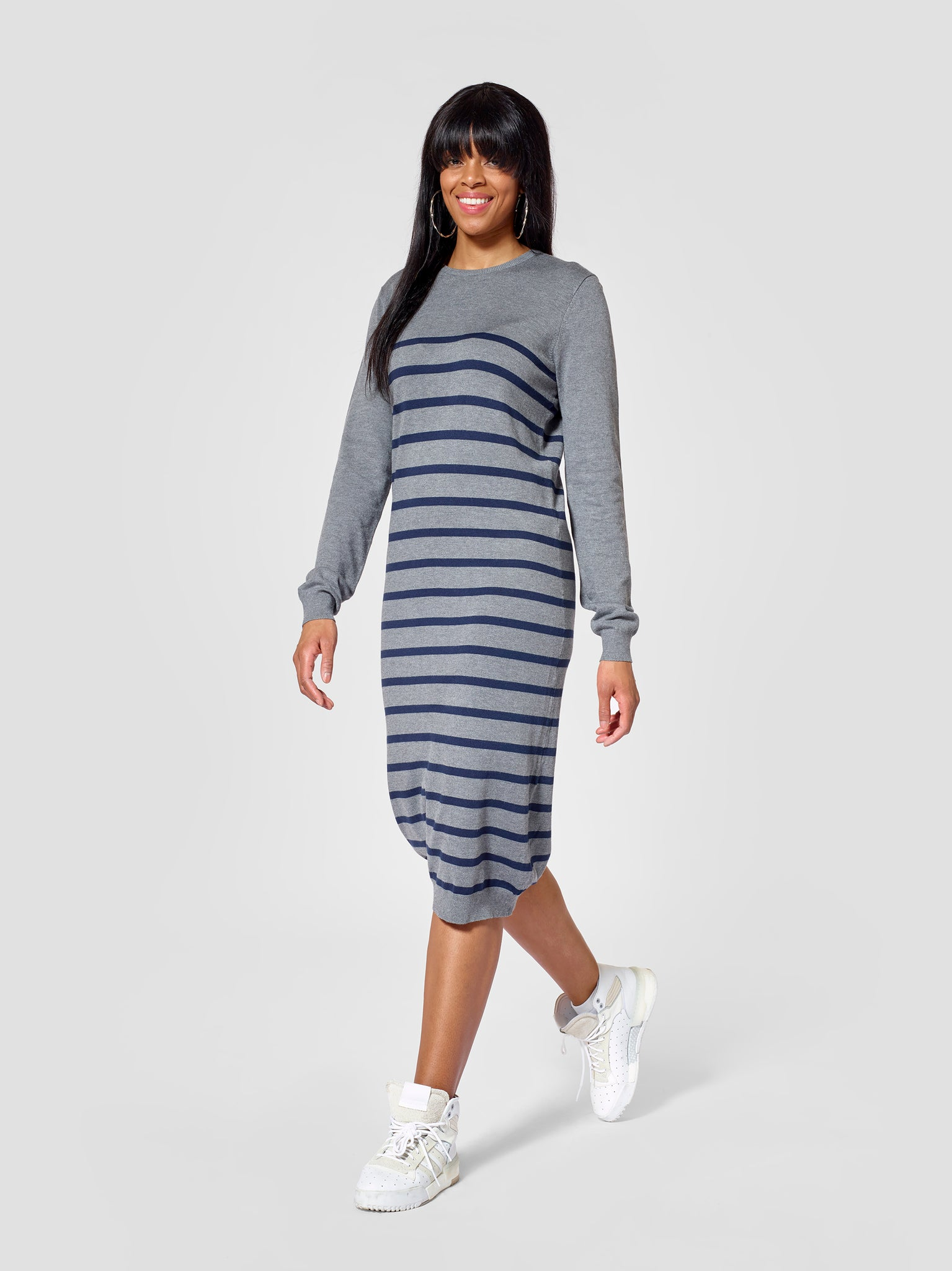 Roundneck Tall Striped Sweater Dress Tall Moi