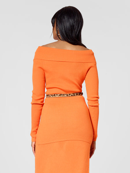 Back view of tall sweater for tall ladies in orange color