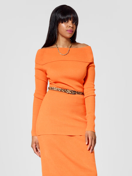 Front view of tall sweater for tall ladies in orange color