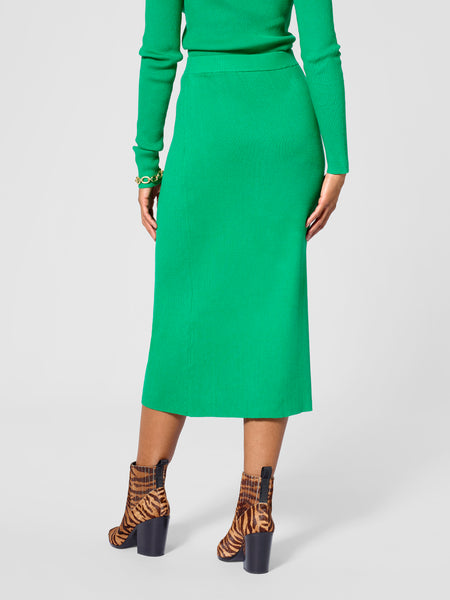 Back view of tall sweater skirt in green color