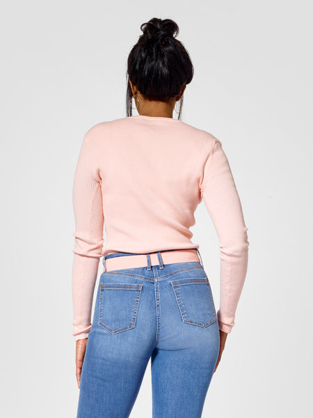 Back view of tall sweater and tall cardigan for tall women in pink color