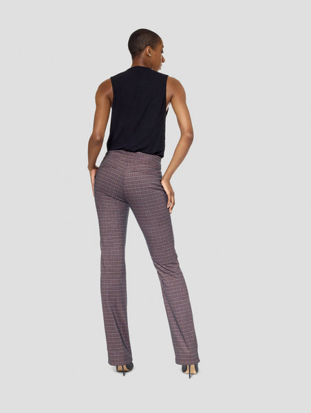 Tall Michelle Plaid/Brown Reversible Bootcut Pant Tall Moi