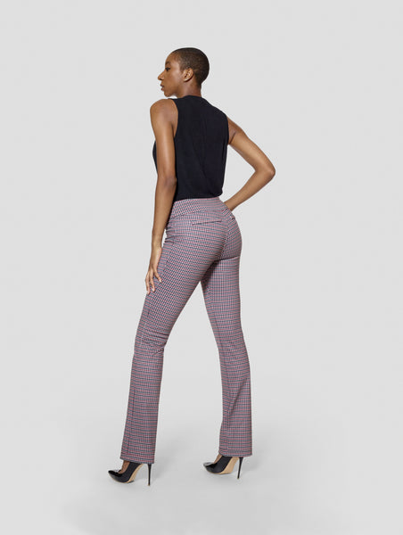 Tall Michelle Houndstooth /Burgundy Reversible Bootcut Pant Tall Moi