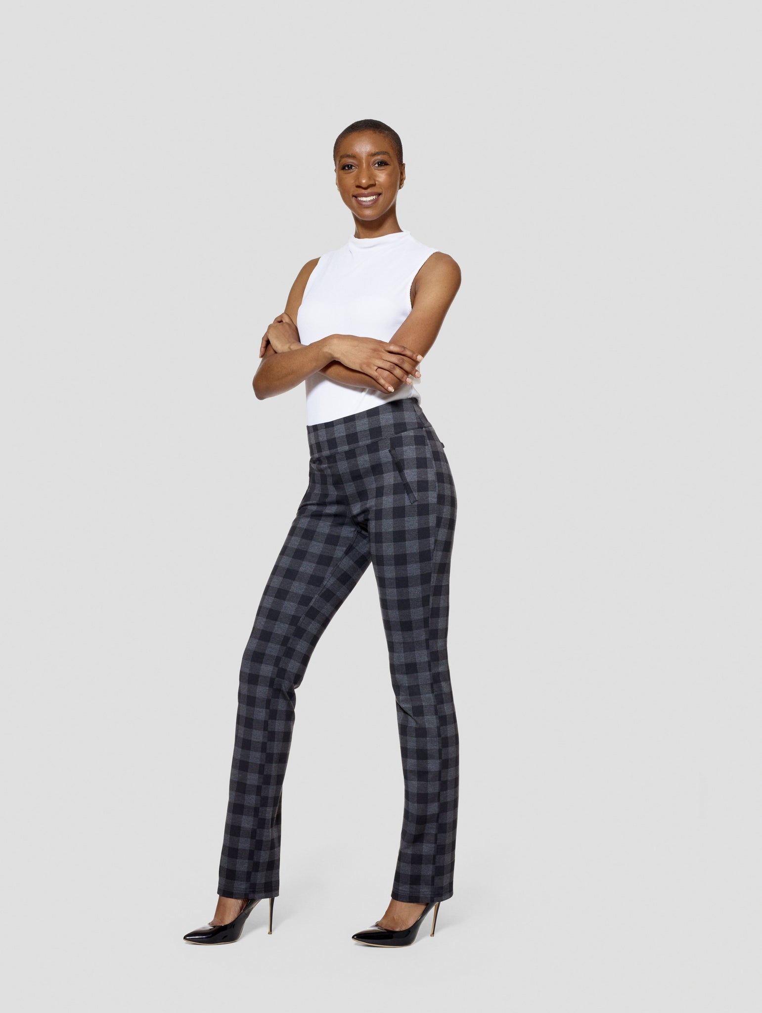 Tall Kimora Buffalo/Black Reversible Straight Pant Side View Tall Pants