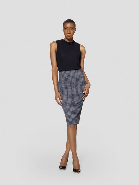 Tall Reversible Uma Plaid/Black Skirt