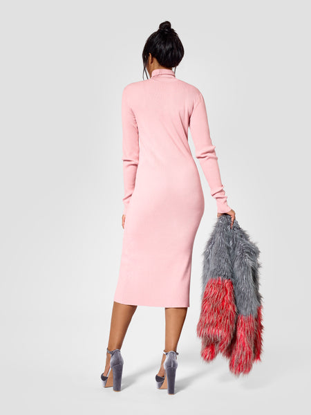 Back view of turtleneck tall sweater dress for tall women in pink color