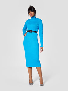 Front view of turtleneck tall sweater dress for tall women
