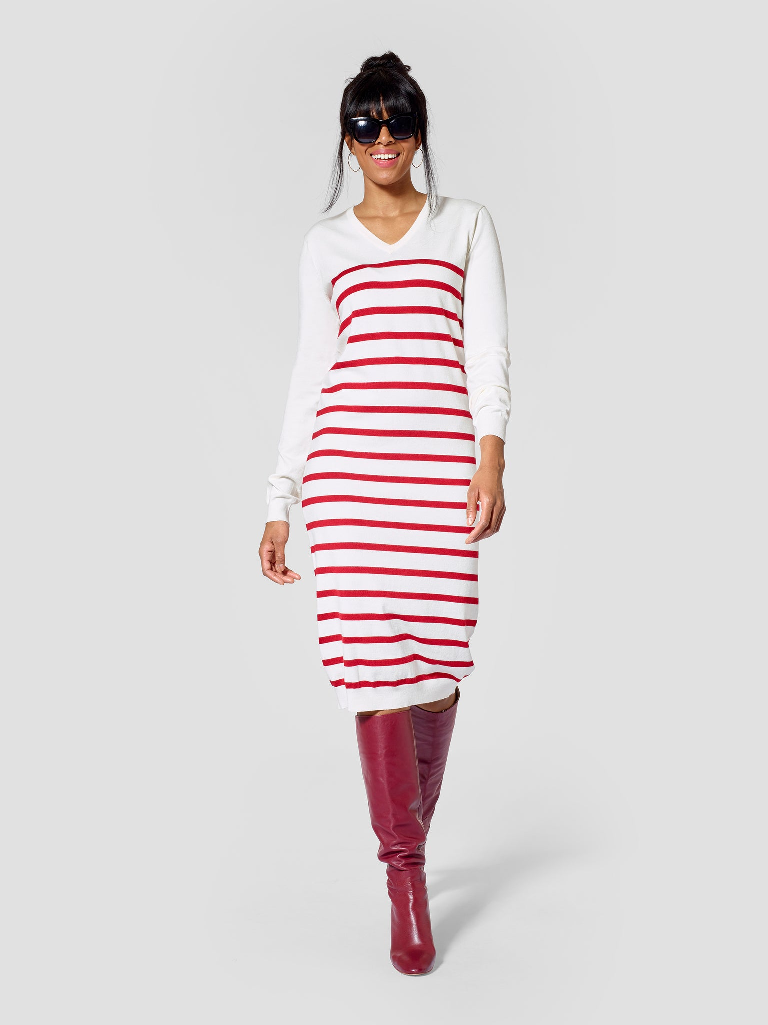 Tall Womenswear Striped V-Neck Tall Sweater Dress Tall Moi