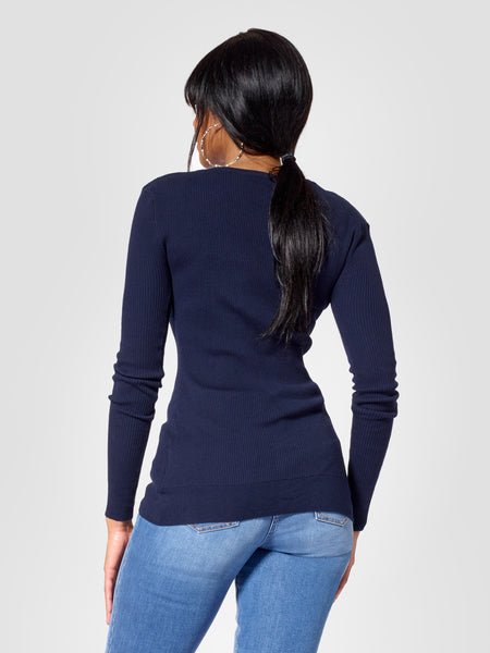 Back view of tall sweater and tall cardigan for tall women