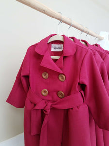 Girls Magenta Trench Coats