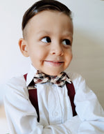 Baby Burgundy Plaid bowtie + suspender set