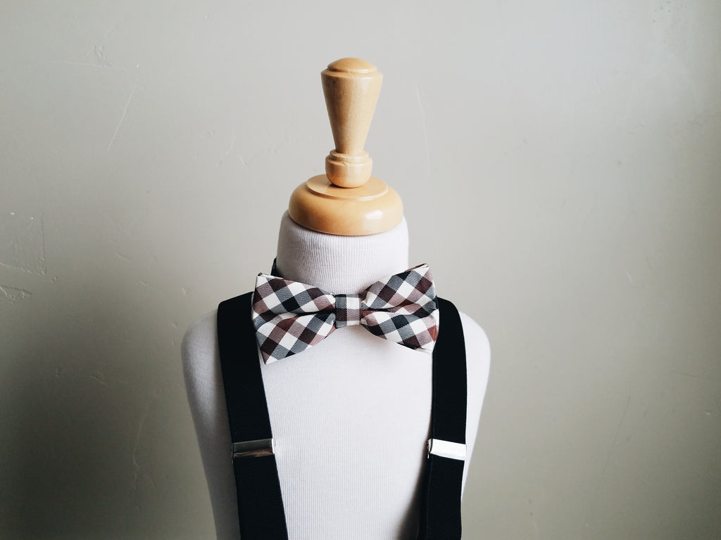 Black Plaid bowtie + suspender set
