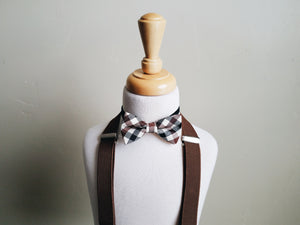 Baby Brown Plaid bowtie + suspender set