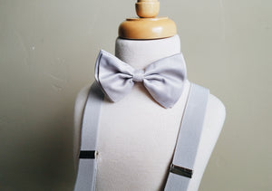 Gray bowtie + suspender set
