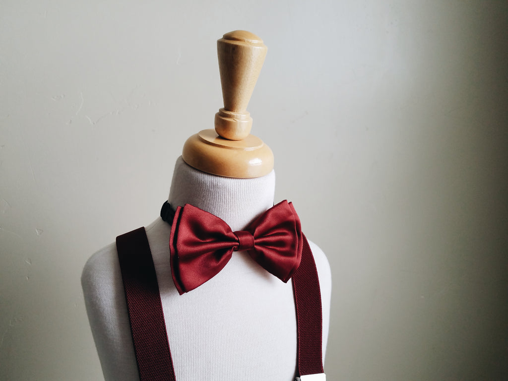 Burgundy bowtie + suspender set